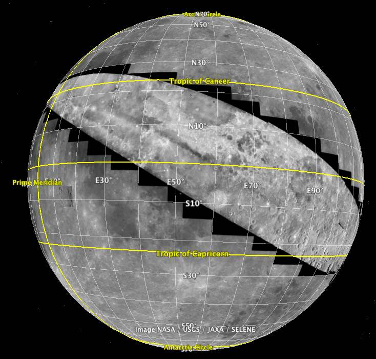 Image of the Moon with images from Apollo 15 projected onto it.